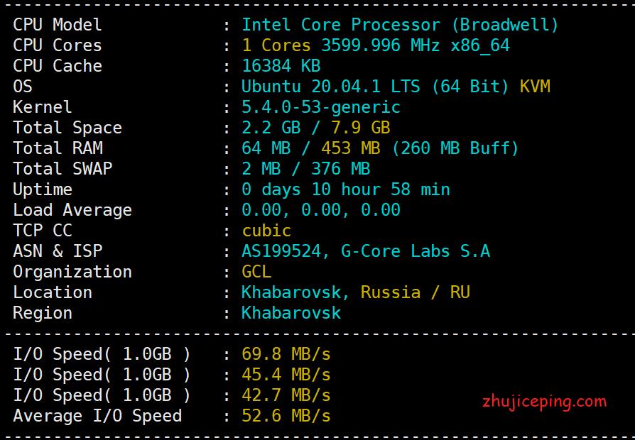"""gcorelabs:俄罗斯远东机房-""""伯力"""",简单测评€1.08/月的VPS,移动劝退!"""